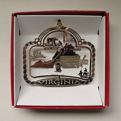Virginia State Brass Christmas ORNAMENT Richmond Arlington Williamsburg VA Gift