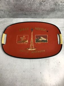 Vintage Seattle Wa Souvenir Tray Space Needle Mount Rainier Japan Lacquerware