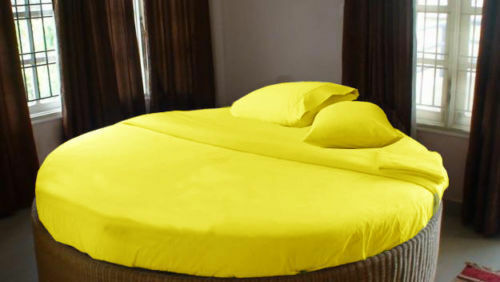 ROUND BED BEDDING ITEMS 1000TC EGYPTIAN COTTON YELLOW SOLID STRIPE ALL US SIZES