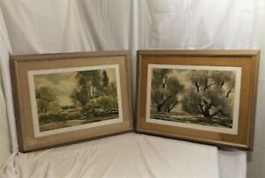 Pair-of-Original-Landscape-Watercolors-Signed-by-NY-Listed-Artist-John-E-Detore