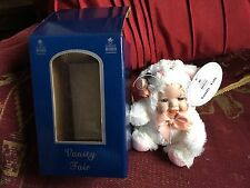 "VANITY FAIR 6"" WHITE CAT ANIMAL PORCELAIN DOLL IN DISPLAY BOX WITH CERTIFICATE"