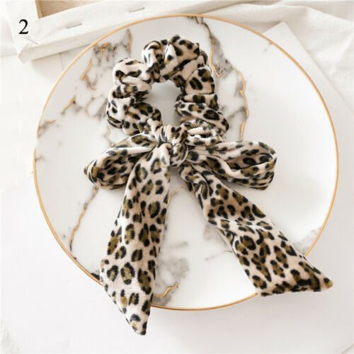 Soft Velvet Leopard Print Hair Scarf Ponytail Knotted Bow Streamers Scrunchies