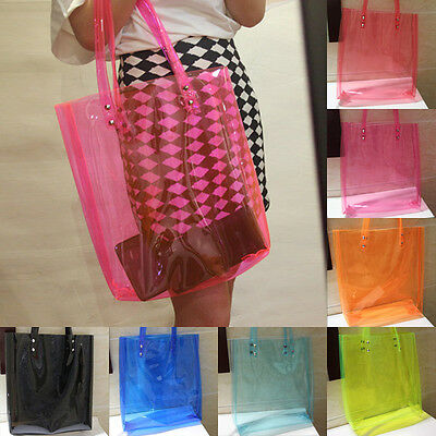 Oversized Bright Candy Clear Plastic Tote Satchel Beach Hobo Bag Handbag Purse