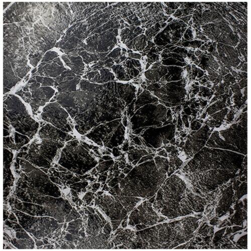 4x MARBLE EFFECT VINYL FLOOR TILES Dark Modern Black Stylish Kitchen Flooring UK