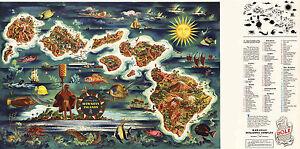 Map Hawaiian Island of Oahu Vintage Wall Art Poster Print Historical Military