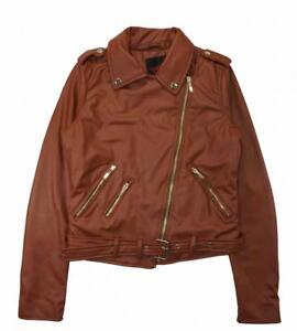 842297f8d88 Yoki Woman s Cognac Sherpa Lined Faux Leather Moto Jacket Size S M L ...