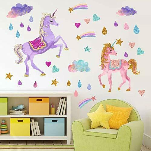 Aiyang Unicorn Wall Stickers Rainbow Couleurs Wall Decals réfléchissant vinyle Wall Ar