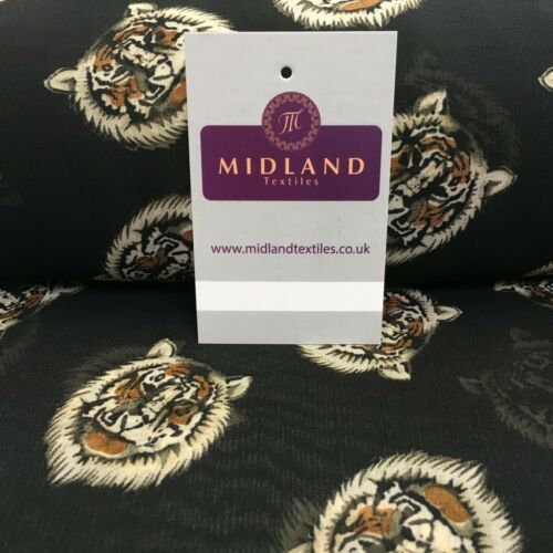 Black Tiger Printed Light Chiffon High Street Fabric 150 cm Wide MK1084-9