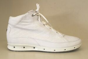 f496d6ca ECCO Mens Yak White Perforated Leather High Top Sneaker Shoe Sz 8 ...