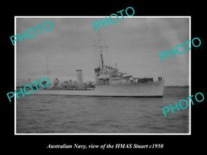 OLD-LARGE-HISTORIC-PHOTO-OF-AUSTRALIAN-NAVY-SHIP-HMAS-STUART-c1950