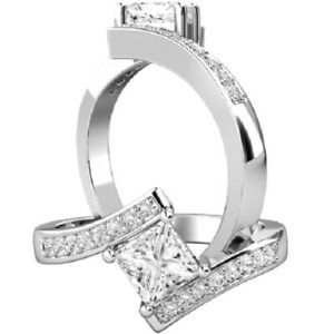 0.65 Ct Princess Real Moissanite Engagement Rings 18K Solid White Gold Size 9.5