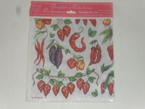 taille 49X49cm papier de riz thème :piments Voile