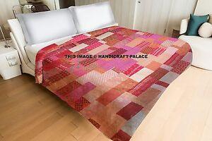 Silk-Sari-Patchwork-Kantha-Quilt-Indian-Reversible-Bedspread-Queen-Bedding-Throw