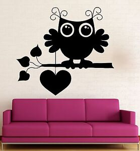 Wall Stickers Vinyl Decal Cute Owl Bird Love Romantic Heart Cool Decor
