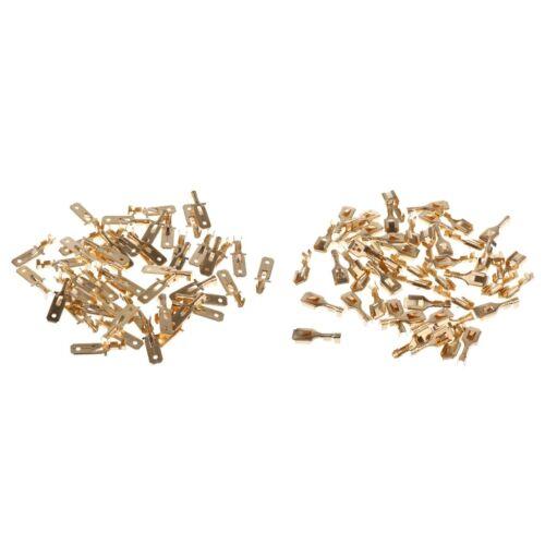 100PC Male+Female Spade Splice Crimp Terminals 6.3mm Connector Non Insulated
