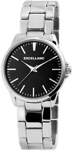 Excellanc-Herrenuhr-Schwarz-Silber-Analog-Metall-Quarz-Armbanduhr-X2800042001