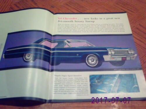 1964  Chevrolet   Full Line Sales  Brochure With Impala S//S Coupe