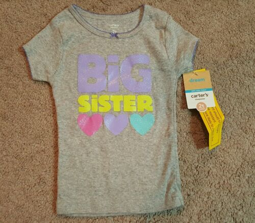 New Carter/'s BIG SISTER Glitter//sparkly pajama Top NWT 2t Sz