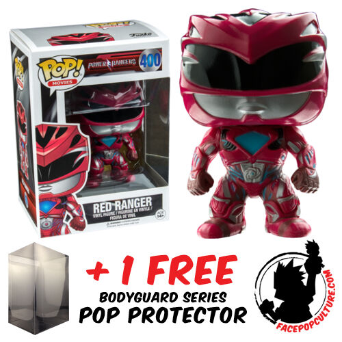 FUNKO POP POWER RANGERS MOVIE RED RANGER VINYL FIGURE FREE POP PROTECTOR