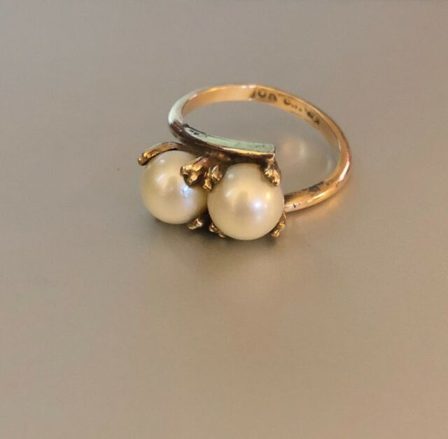 Vintage 10K Yellow Gold Cultured Pearl Ring Size 4 3/4