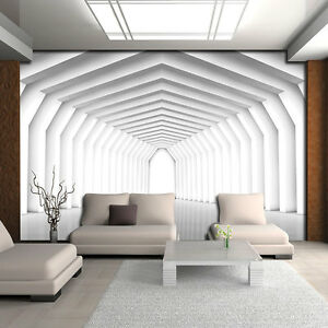 bild tapeten fototapete tapete muster wand weiss zimmer raum tunnel 3d 3fx2651p4 ebay. Black Bedroom Furniture Sets. Home Design Ideas