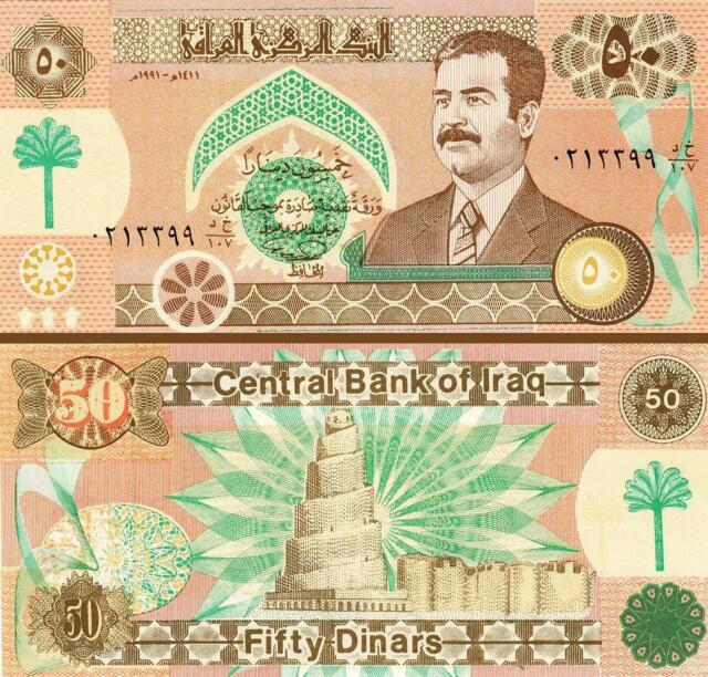 Iraq 50 Dinars 1991 Unc With SADDAM Hussein P-75