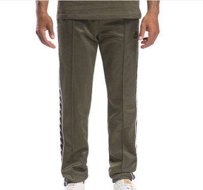 Kappa 303W920 Authentic Hector Green Africa  Black Slim Fit Tearaway Track Pants
