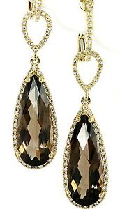 7-40ct-SMOKEY-BROWN-TOPAZ-amp-DIAMOND-DANGLE-TEAR-DROP-EARRINGS-14K-YELLOW-GOLD