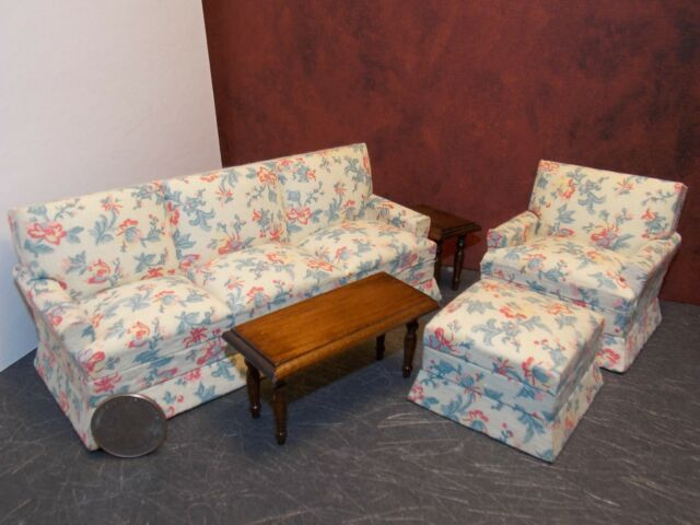 Pleasing Dollhouse Miniature Modern Floral Sofa Chair Set 1 12 Scale Y44 Dollys Gallery Gmtry Best Dining Table And Chair Ideas Images Gmtryco