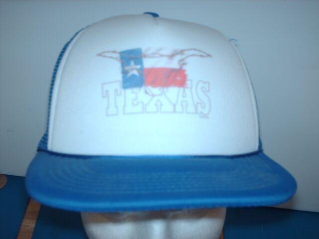 Mesh Foam trucker hat ball cap Royal Blue Texas State Flag Longhorn Cattle