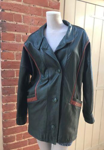 Grøn Vintage Small Batwing Coat Læder Brun Trim London 10 80s Sardar Ægte rpOXrq