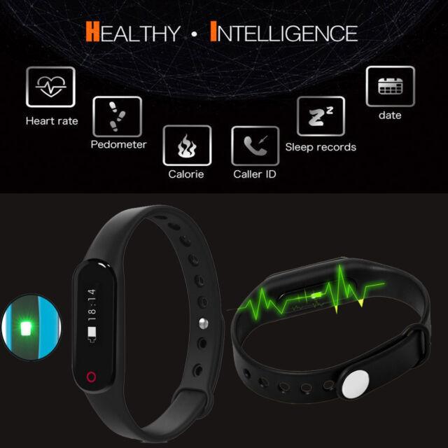 Fitness Heart Rate Monitor Smart Pedometer Bracelet Wristband Sports Watch Black