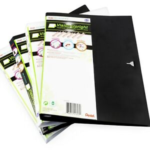 Pentel-Recycology-Vision-Upright-Filestand-Display-Book-Black-White-4-Pack