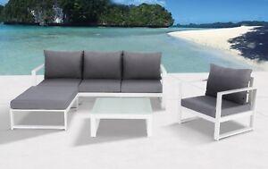 Gartenmöbel alu  Mandalika Lounge Set Bella weiß Sitzgruppe Gartenmöbel Garnitur Alu ...