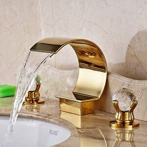 Gold Waterfall Bathroom Faucet Tub Spout Mixer Tap 3 Holes 2 Handles
