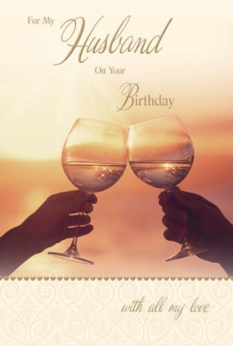 For My  Husband Glasses Cheers Design Luxury Happy Birthday Card Lovely Verse
