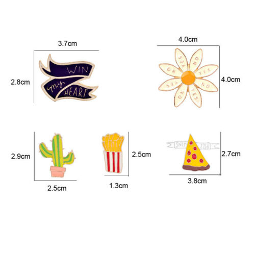 Cactus Flower Pizza Brooch Pins For Jeans//Backpack//Bag//Jeans//Clothes one