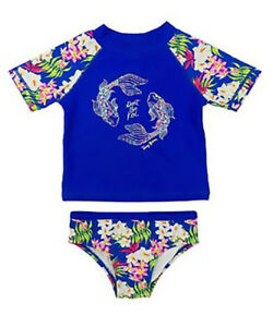 Persevering Tommy Bahama Girls 2-piece Koi Guard And Swim Bottoms Set Dark Blue Utmost In Convenience Swimwear Baby & Toddler Clothing