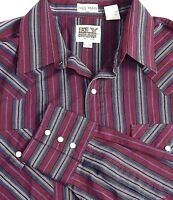 Ely Cattleman Mens Shirt Size 16.5 37 Tall Man Pearl Snap Burgundy Cotton Blend