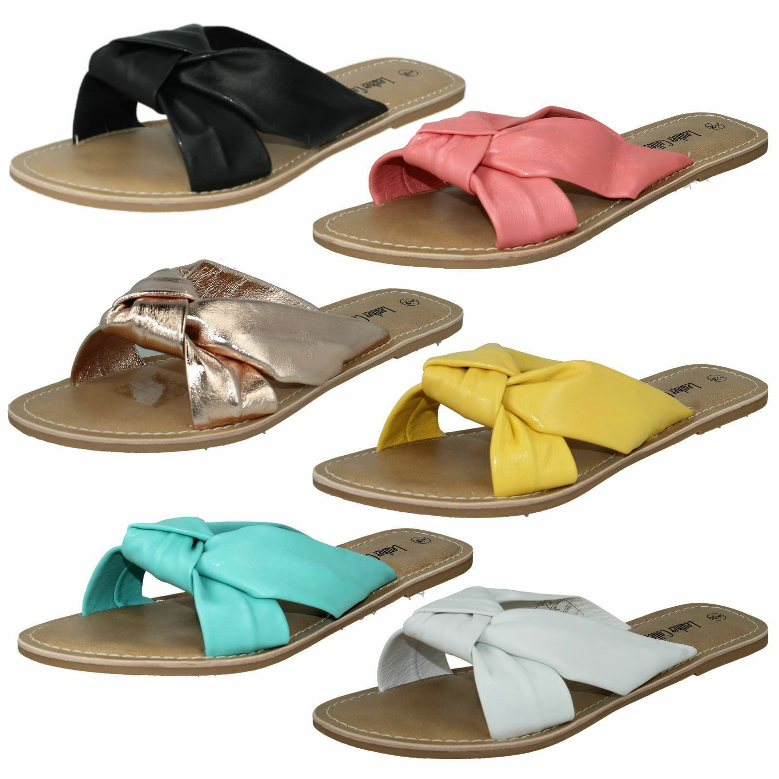 Ladies F0R0150 Twisted Straps Leather Slip On Sandals By Leather Straps Collection Sale Now b4e789