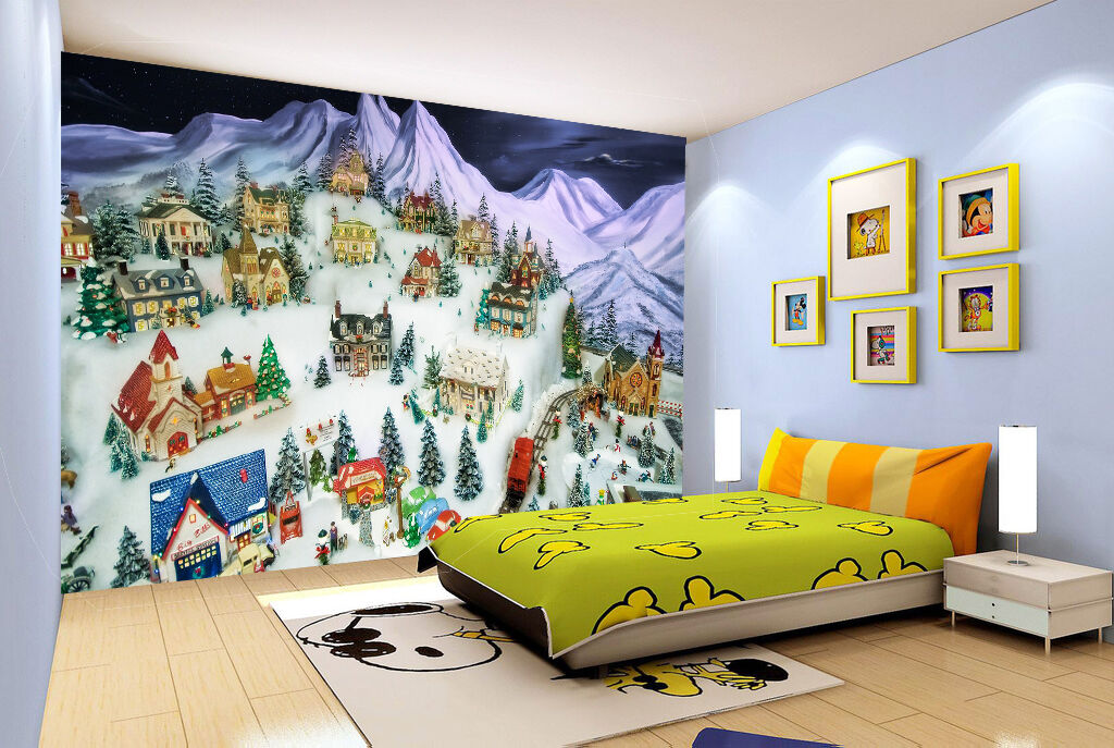 3D Snowing village painted Wall Paper Print Decal Wall Deco Indoor wall Mural
