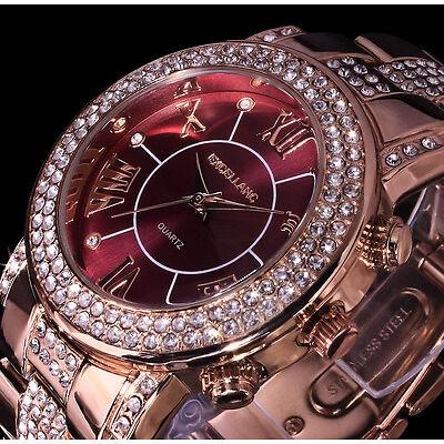 Excellanc Damen Armband Uhr Bordeaux Rot Rose Gold Farben Metall Strass B