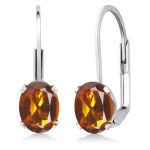 1-40-Ct-Oval-Orange-Madeira-Citrine-925-Sterling-Silver-Leverback-earrings
