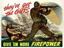 """""""Give 'Em More Firepower!"""" WW2 US Army Airborne War Poster - 18x24"""