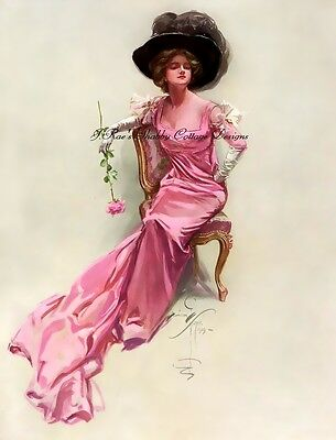 Harrison FIsher Beautiful Victorian Lady in Pink Dress Fabric Block 5x7 or 8x10