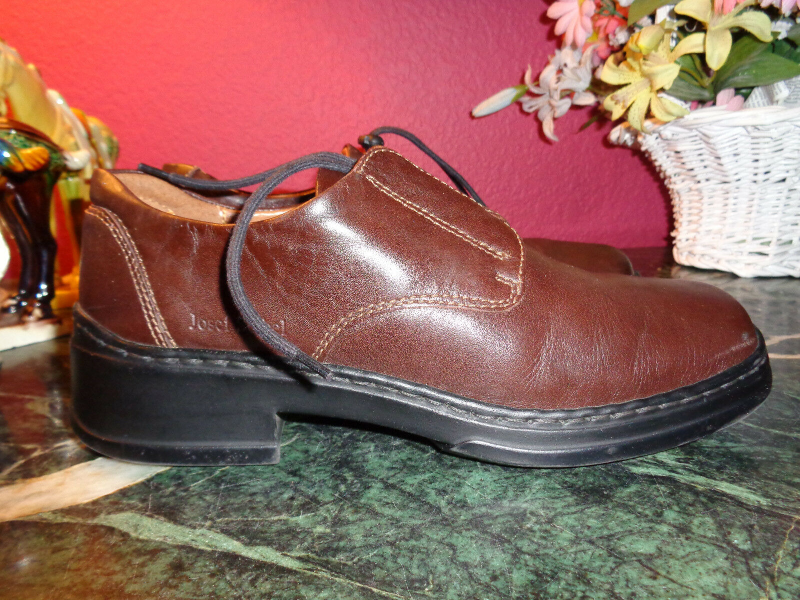 JOSEF SEIBEL brown leather oxford slip ons size 39 European comfort shoe xlnt
