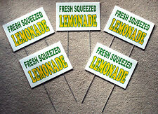 5 Fresh Squeezed Lemonade Coroplast Signs 8 X 12 Concession Stand Withstakes