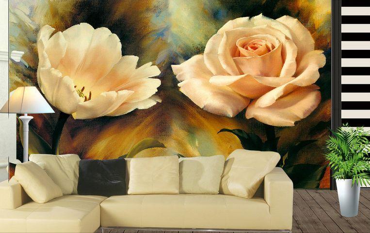 3D Cigni, fiori Parete Murale Carta da parati immagine sfondo muro stampa