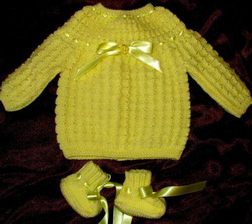 pour 1 naissance brassiere bébé jaune poussin tricotée main chaussons qualité
