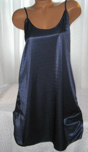 Shiny Poly Satin Chemise XL 1X Navy Blue Plus Size